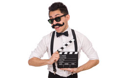 Whiskered young man with clapperboard isolated on Royalty Free Stock Image