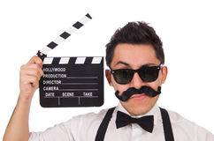 Whiskered young man with clapperboard isolated on Royalty Free Stock Images