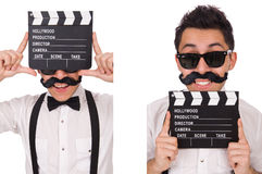The whiskered young man with clapperboard isolated on white Stock Images