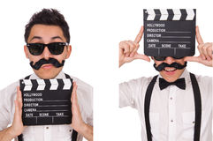 The whiskered young man with clapperboard isolated on white Royalty Free Stock Photography