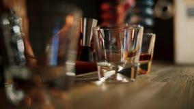 Whiskery écossais de versement en verres se ferment  Motin lent clips vidéos