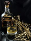 Whiskey. Bottle and glass of whiskey stock image