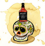Whiskey. Fun Mexican Skull with bottle of whiskey Royalty Free Stock Photo
