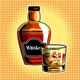 Whiskey alcohol drink pop art vector. Whiskey alcohol drink pop art hand drawn vector illustration Royalty Free Stock Image
