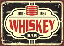 Whiskey bar vintage tin sign Stock Photos