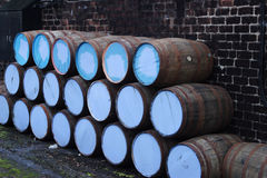 Whiskey barrel. Outside the distillery royalty free stock photos