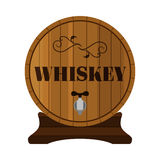 Whiskey barrel. Alcohol drink in flat style design. Vector illustration Stock Photo