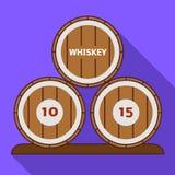 Whiskey barrel icon, flat style. Whiskey barrel icon. Flat illustration of whiskey barrel vector icon for web design stock illustration
