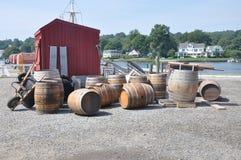 Whiskey Barrels. Mystic Seaport barrels taken off a ship Royalty Free Stock Photos