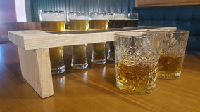 Whiskey and beer Stock Photography