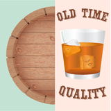 Whiskey and Big Barrel. Concept Old Time Quality. Stock Images