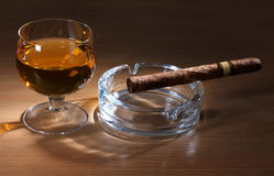 Whiskey and big cigar Stock Image