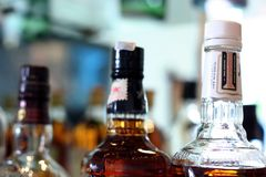 Whiskey in the botle. Photograph of whiskey in the botle royalty free stock photo