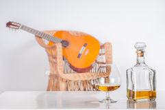 Whiskey bottle with glass Royalty Free Stock Images
