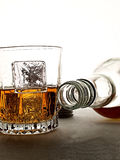 Whiskey Bottle & Glass Abstract Stock Image