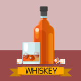 Whiskey Bottle Glass With Ice Alcohol Drink Icon Flat Royalty Free Stock Photos
