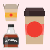 Whiskey bottle glass liquor scotch beverage whisky bourbon drink brandy coffee to go cup vector illustration. Stock Photography