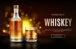 Whiskey bottle and glass mockup promo ad banner, stock illustration