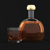 Whiskey bottle and glass Stock Image