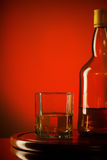 Whiskey Bottle and Glass Stock Photo