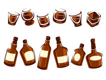 Whiskey bottle and glass set. Vector Royalty Free Stock Image