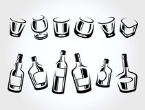 Whiskey bottle and glass set. Vector Stock Images