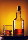 Whiskey Bottle and Glass Royalty Free Stock Photo