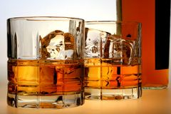 Whiskey Bottle & Glasses Stock Image