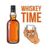 Whiskey bottle and hand holding full shot glass. Sketch style vector illustration . Realistic hand drawing of an unlabeled, unopened bottle and whiskey time Royalty Free Stock Photography