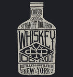 Whiskey bottle with vintage typography Royalty Free Stock Photos