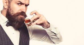 Whiskey, brandy, bevanda del cognac Uomo barbuto brutale con vetro di whiskey, brandy, cognac Uomo attraente con un cognac fotografie stock