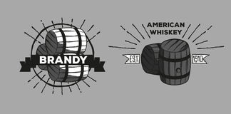Whiskey brandy logotypes. Set of icons logos bar pub whiskey brandy oak barrels royalty free illustration