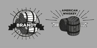 Whiskey brandy logotypes. Set of icons logos bar pub whiskey brandy oak barrels Stock Photo