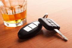 Whiskey with car keys concept for drinking and royalty free stock images