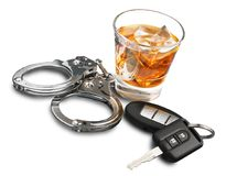 Whiskey with car keys and handcuffs concept for stock image