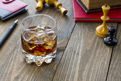 Whiskey and chess Royalty Free Stock Photography