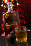 Whiskey and Christmas tree Royalty Free Stock Photos