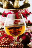 Whiskey and Christmas tree Royalty Free Stock Photography