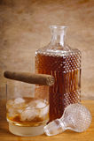 Whiskey and cigar Stock Photography