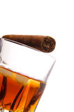 Whiskey and cigar Royalty Free Stock Photos