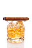 Whiskey and Cigar Royalty Free Stock Photography