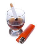 Whiskey and cigarettes Royalty Free Stock Photography