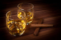 Whiskey with Cigars Stock Photography