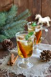 Whiskey cocktail on Christmas background royalty free stock photos
