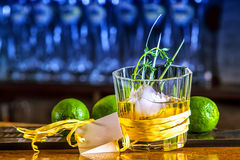 Whiskey Cocktail. Ice ball with mint in retro glass Royalty Free Stock Image