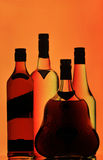 Whiskey, cognac and vodka bottles. Silhouetted bottles of whiskey, cognac and vodka isolated on dim orange background Royalty Free Stock Photos