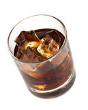 Whiskey cola cocktail. Isolated on white background Stock Photos