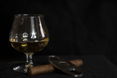 Whiskey and a cuban cigar Stock Image