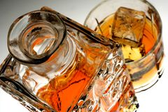 Whiskey Decanter and Glass Stock Photography