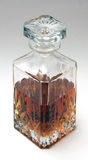 Whiskey Decanter half full with spirit (top view) Royalty Free Stock Photos